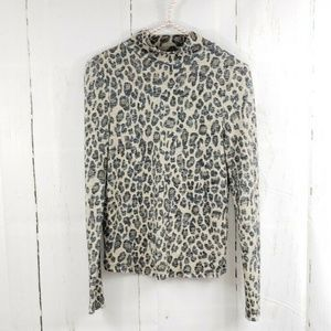 Topshop Animal Print Mock Neck Knit Top 4